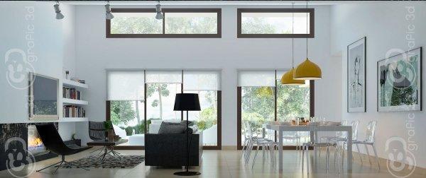 Diseño infografias 3d Passive HouseVallladolid Castilla y León Salón